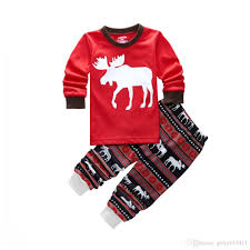 2017 Autumn Winter Christmas Pjs Girls Boys Reindeer Cute Animals ...