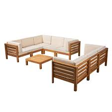 com great deal furniture annabelle outdoor sectional sofa set with coffee table 9 piece 8 seater acacia wood outdoor cushions teak and