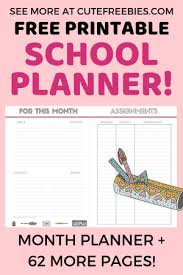 Planner Printables For Students Free School Planner Printables For 2019 2020 Cute