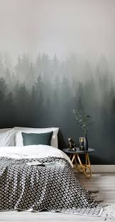 Deep Green Ombre Forest Wall Mural Bedroom Design Arredamento