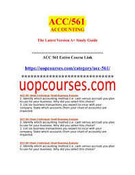 Acc 561 Week 2 Individual Small Business Analysis 1