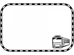 電車と線路の白黒四角フレーム飾り枠イラスト 無料イラスト かわいい