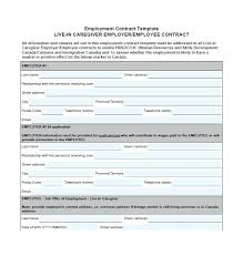 Free Contract Template Employment Canada Nanny Templates