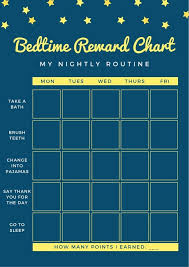 Bedtime Chart Yellow And Blue Stars Bedtime Reward Chart Templates By Canva
