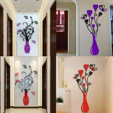 acrylic 3d flower vase wall sticker art mural decal removable diy home decor com