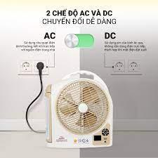 Quạt sạc tích điện Honjianda FL 223 - tích hợp đèn LED & cổng USB - Hàng  chính hãng