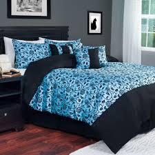 lavish home 7 piece blue victoria damask queen comforter set