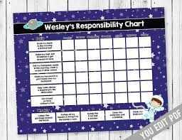 Kids Chore Chart Reward Chart Chore Chart Responsibility Chart Weekly Chore Chart Behavior Chart Chore Chart For Kids You Edit Pdf