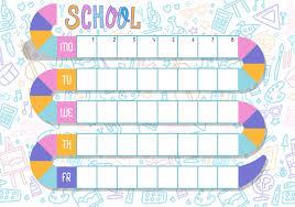Weekly Timetable Planner Weekly Planner Multicolored Vector Schedule School