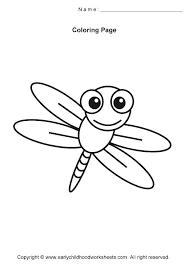 insect coloring pages for preschool and kindergarten dragonfly insects to print out birds