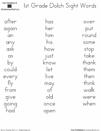 sight word 1st grade printable dolch word lists a to z teacher stuff printable pages