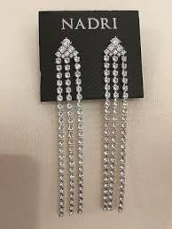 nadri rhodium plated cubic zirconia fringe chandelier drop earrings nwt 95