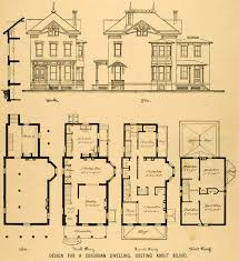 Vintage Victorian House Plans  1879 Print Victorian House Historic Homes Floor Plans