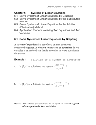 chapter 6 systems of equations page 1 of 18 chapter 6 systems of linear equations 6 1 solve systems of linear equations by graphing 6 2 solve systems of