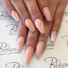 Nude And White Embellished Nails Girly Shit Beige Nails Nail