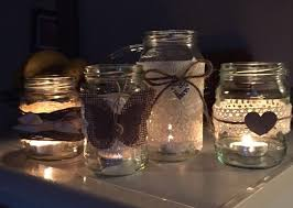 Mason Jars Decorated With Twine homemade home made wedding jars decorated lace vintage hessian 89