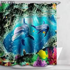 shower curtain dolphin bath curtain animal fabric 3d waterproof shark whals sea turtle blue cartoon curtain