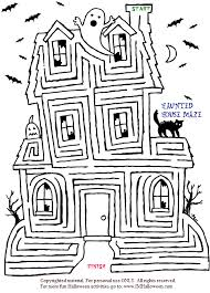Small Picture Haunted House Maze Coloring Coloring Pages