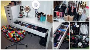 makeup collection storage organization filming setup area