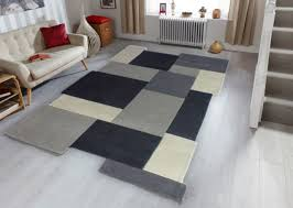 modern geometric soft grey wool rugs non shed easy clean thick blocks area rug