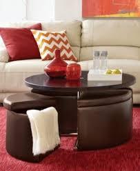 Neptune Coffee Table With Storage Ottomans: Hydraulic Piston Raises Table