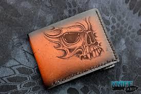 sergey rogovets extremaddiction custom skull leather wallet knife habit