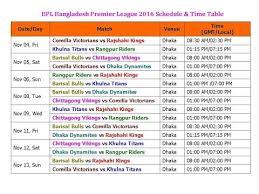 Bpl Bangladesh Premier League 2016 Schedule Time Table