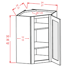 knotty hickory shaker 24 x 42 diagonal corner wall cabinet w a plain