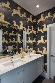 bathroom wallpaper. Zeal Of Zebras. Modern Black And White Bathroom With Zebra Wallpaper L