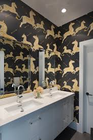 modern black and white bathroom with zebra wallpaper