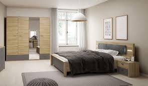 Schlafzimmer Set Komplett 4 Teilig Grandson Eiche Graphit Neu