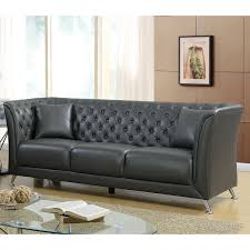 furniture of america derrison grey leather tufted back tuxedo arm sofa