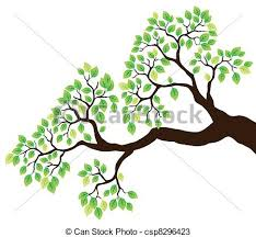 tree branch with leaves vector. tree branch with green leaves 1 - vector illustration.