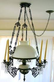 antique oil lamp metal and milk glass chandelier listing value