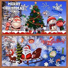Buondac 2 Rolle 2 Muster Fensteraufkleber Selbstklebend Weihnachten Fensterbilder Fenstersticker Winter Fenstertattoo Fensterdeko Fensterschmuck