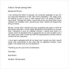 apology letter to teacher for behavior best resume gallery  apology letter to teacher