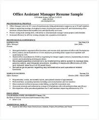 Office Assistant Manager Resume General Manager Resume