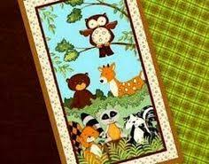 Baby Quilt Panel Kits | Blue Jungle Animals Cot Quilt Panel ... & Forest Friends Flannel Wall Quilt kit Easy enough for a beginner Adorable  Forest Friends Panel by Bonijean for South Sea Imports and coordinating  cotton ... Adamdwight.com