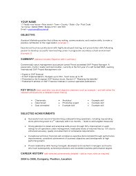 Cover Letter Sample Resume Objective With Key Skills And Selected