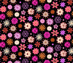 Fancy Flowers Ornate Pink Large Black Background Fabric