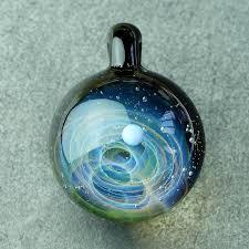 universe planets space handmade lampwork glass pendant designer klass glass i