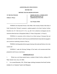 IN THE MATTER OF: Debbie E. Wicker ADMINISTRATIVE PROCEEDING BEFORE THE  BEFORE THE SECURITIES DIVISION ORDER ISSUING A PERMANENT