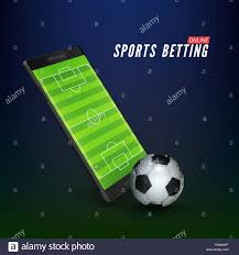 Sport betting online banner concept. app online bet on soccer. Mobile phone  with soccer field on screen and realistik football ball in front. Vector i  Stock Vector Image & Art - Alamy
