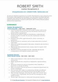 Cashier Duties For Resume Cashier Receptionist Resume Samples Qwikresume