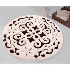 bath rug cotton 36 inch round damask anti skid gray white 200