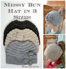 Bun Hat Pattern Classy Crochet Ponytail Messy Bun Hat Free Patterns [Instructions]