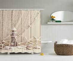 beige wooden lighthouse shower curtain nautical decor by ambesonne marine fishing net sea stars and ss picture polyester fabric bathroom set with hooks