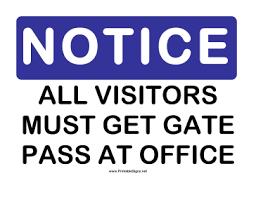 Printable Notice Gate Pass Sign