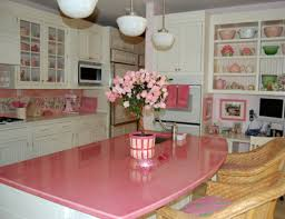 brown pink kitchen