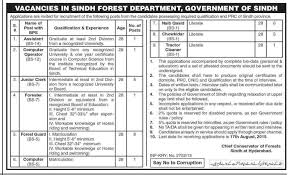 Pec Jobs Jobs In Sindh Forest Department Govt Of Sindh For Clerk